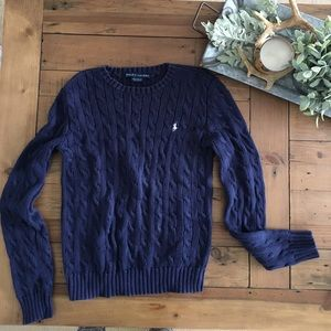 Ralph Lauren Navy cable knit crew neck sweater SM